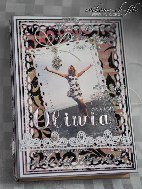 7gypsies - flocked paper JAI, Ewa Jarlińska, rękodzieło, Evik, Evikowe ch-file, kartka książka, kartka na urodziny, koronka, cyrkonie, srebrny embossing