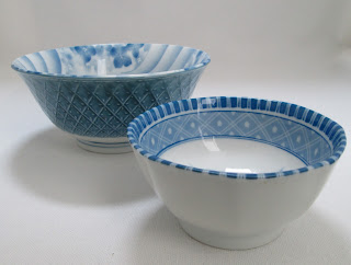 Japanese Blue Floral Bowls-Side View
