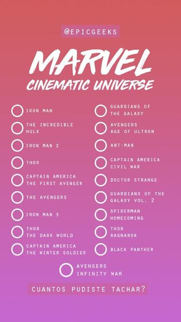 Tag de Marvel - Preguntas y respuestas para Instagram [Plantillas]