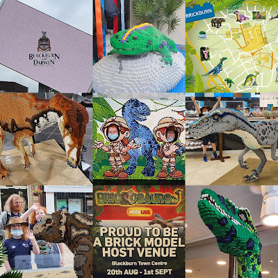 Brickosaurs LEGO Trail Blackburn 2021 collage of 9 images, mainly dinosaur faces