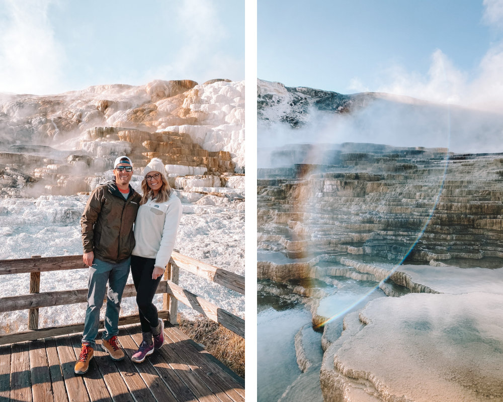 travel blogger @amandasok at Mammoth Hot Springs in Yellowstone National Park