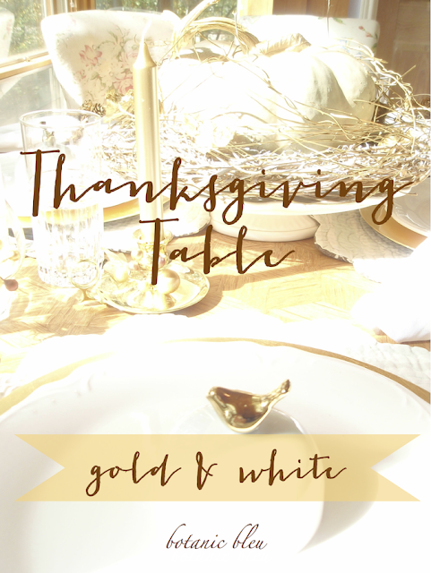 Thanksgiving gold and white table reminds us of the abundance in our lives