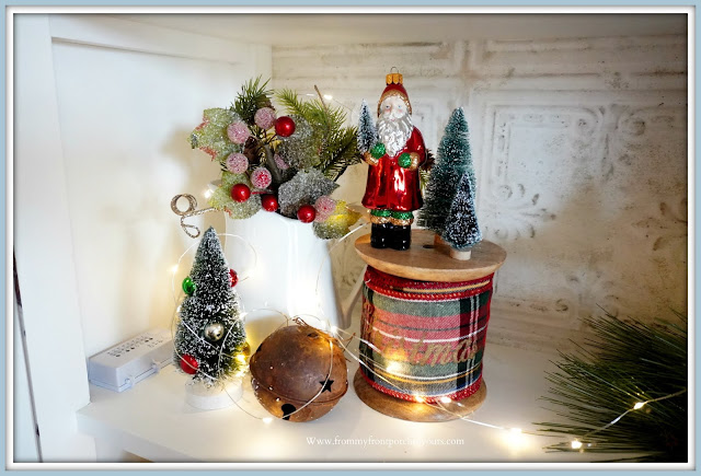French -Farmhouse- Cottage- White -Dining -Room- Cabinet-Christmas- Vignettes-Vintage-Style-From My Front Porch To Yours