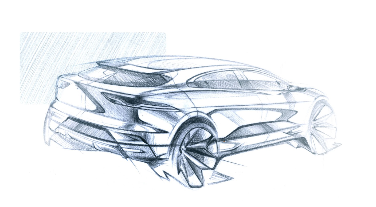 Jaguar I-Pace pencil sketch - rear three-quarter view