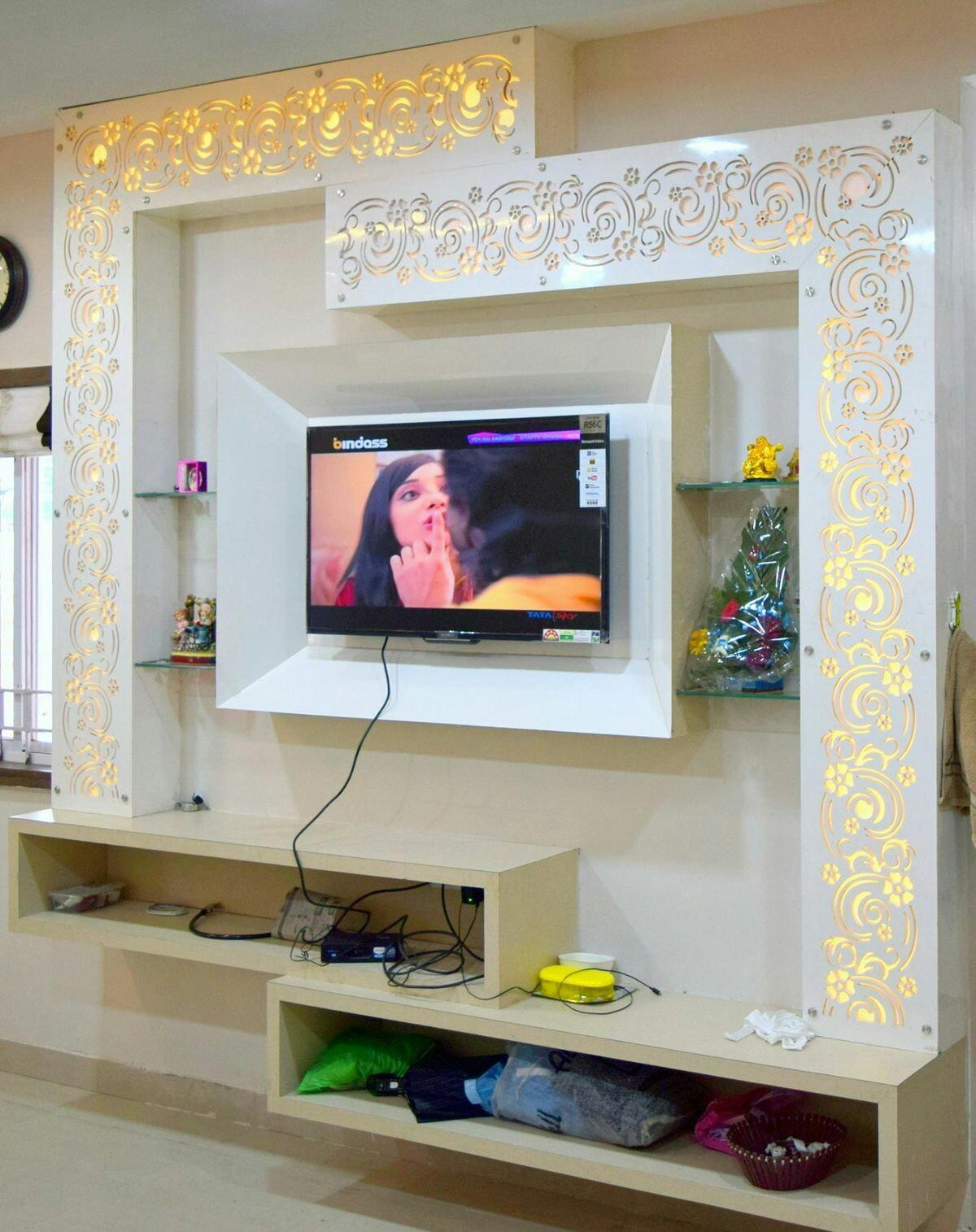 Living Room Interior Designs Tv Unit: اكثر من 12 صوره من اجمل ديكورات الجبس مع ديكور خشب السي ان
