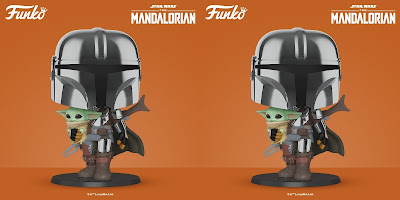 """The Mandalorian with Child Chrome Edition 10"""" Pop! Star Wars Vinyl Figure by Funko"""