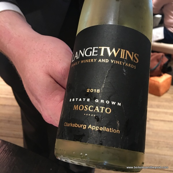 Langetwins Moscato dessert wine at Campton Place Restaurant in San Francisco, California