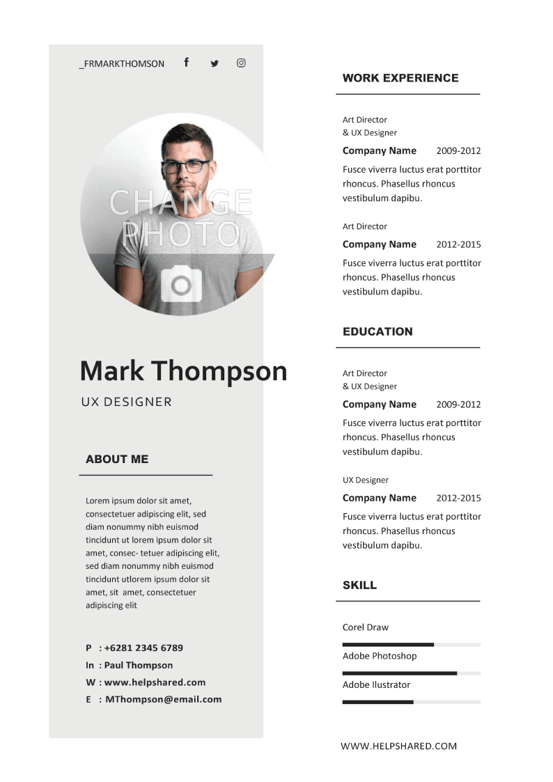 minimalist cv template concept