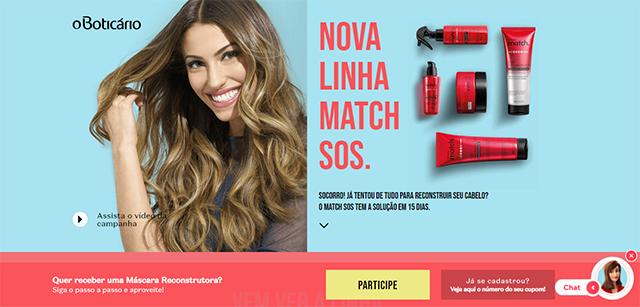 Promoção Match  O Boticário - Nova Linha Match Sos