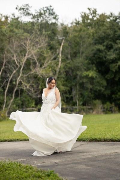 bride twirling wedding dress