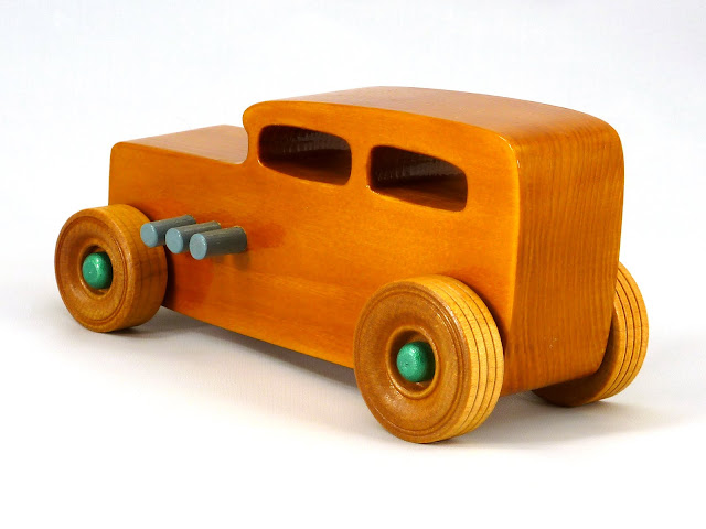 Left Side Rear - Wooden Toy Car - Hot Rod Freaky Ford - 32 Sedan - Pine - Amber Shellac - Metallic Green - Gray
