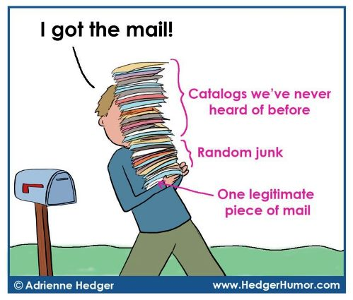 Christmas mail collection - nothing like junk mail to get you into the Christmas spirit. Hedger Humor
