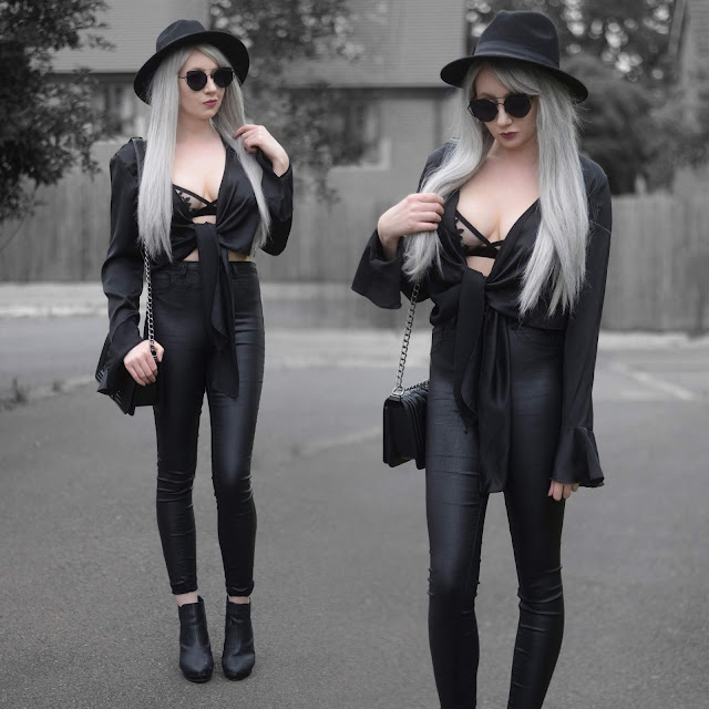 Sammi Jackson - Primark Black Fedora / Zaful Sunglasses / Femme Luxe Silky Tie Up Top / Primark Lace Bralet / Primark Satin Jeans / Boy Chanel Bag / Office Chunky Ankle Boots