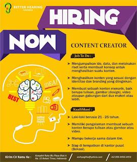 Info Lowongan Kerja Content Creator Better Hearing Bekasi