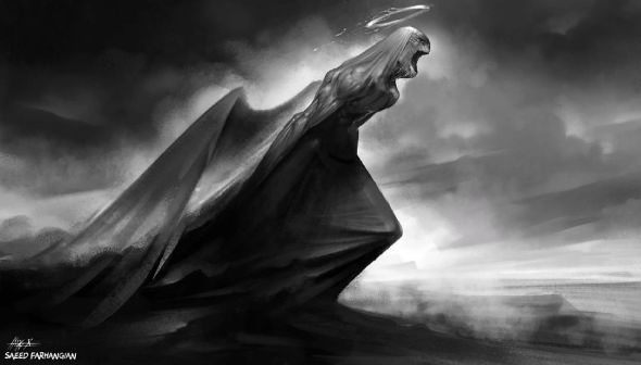 Saeed Farhangian artstation arte ilustrações fantasia sombria anjos caídos demônios preto e branco