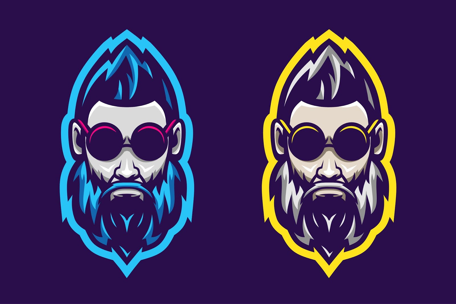 Awesome Man Beard Logo Option Color Free Download Vector CDR, AI, EPS and PNG Formats