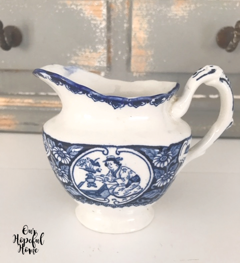 blue and white china creamer