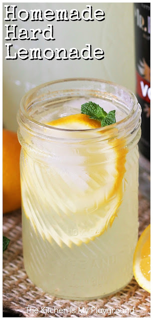 Homemade Hard Lemonade ~ It's easy to make your own Hard Lemonade from scratch! Just grab some lemons, some sugar, & some vodka and you're good to go with whipping up a batch yourself, no need to rely on those bottles from the store. It's the perfect refreshing summer sipper.  www.thekitchenismyplayground.com