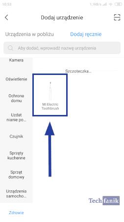 Dodawanie szczoteczki do aplikacji Mi Home