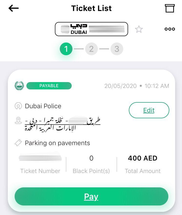 Dubai Police Fines Ticket list