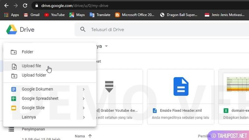 Klik Upload file - Cara Upload File ke Google Drive