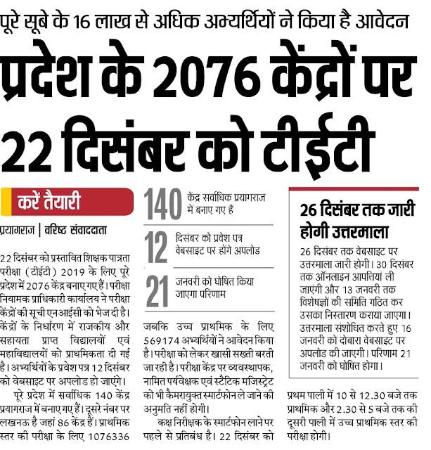 प्रदेश के 2076 केंद्रों पर 22 दिसंबर को  16 लाख अभ्यर्थी देंगे परीक्षा