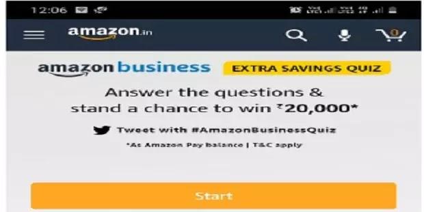 अमेजॉन बिजिनेस क्विज: Amazon Business (Extra Saving ) Quiz Answers Today - Win Rs. 20,000