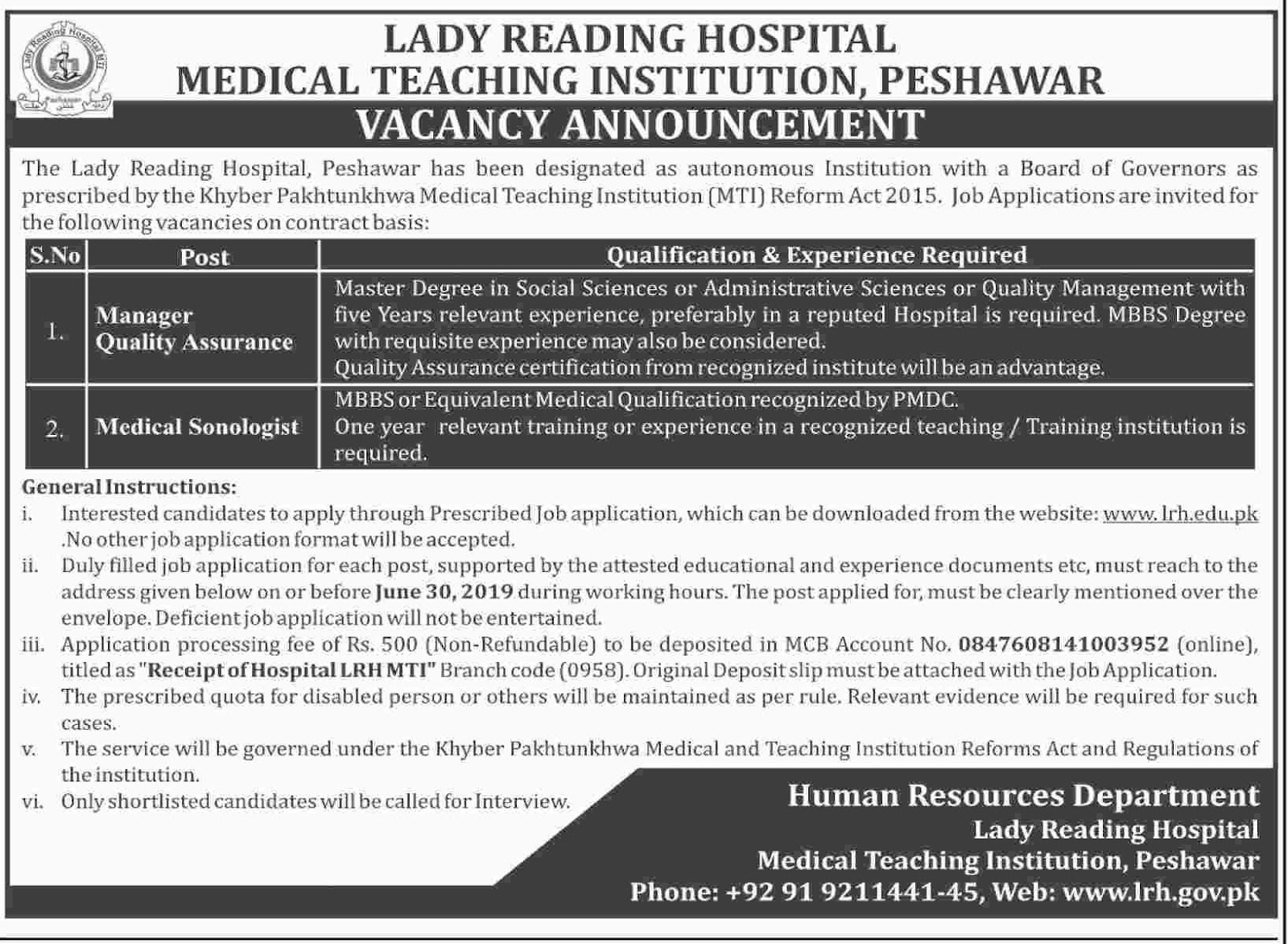 Jobs in Lady Reading Hospital Peshawar 11 June 2019
