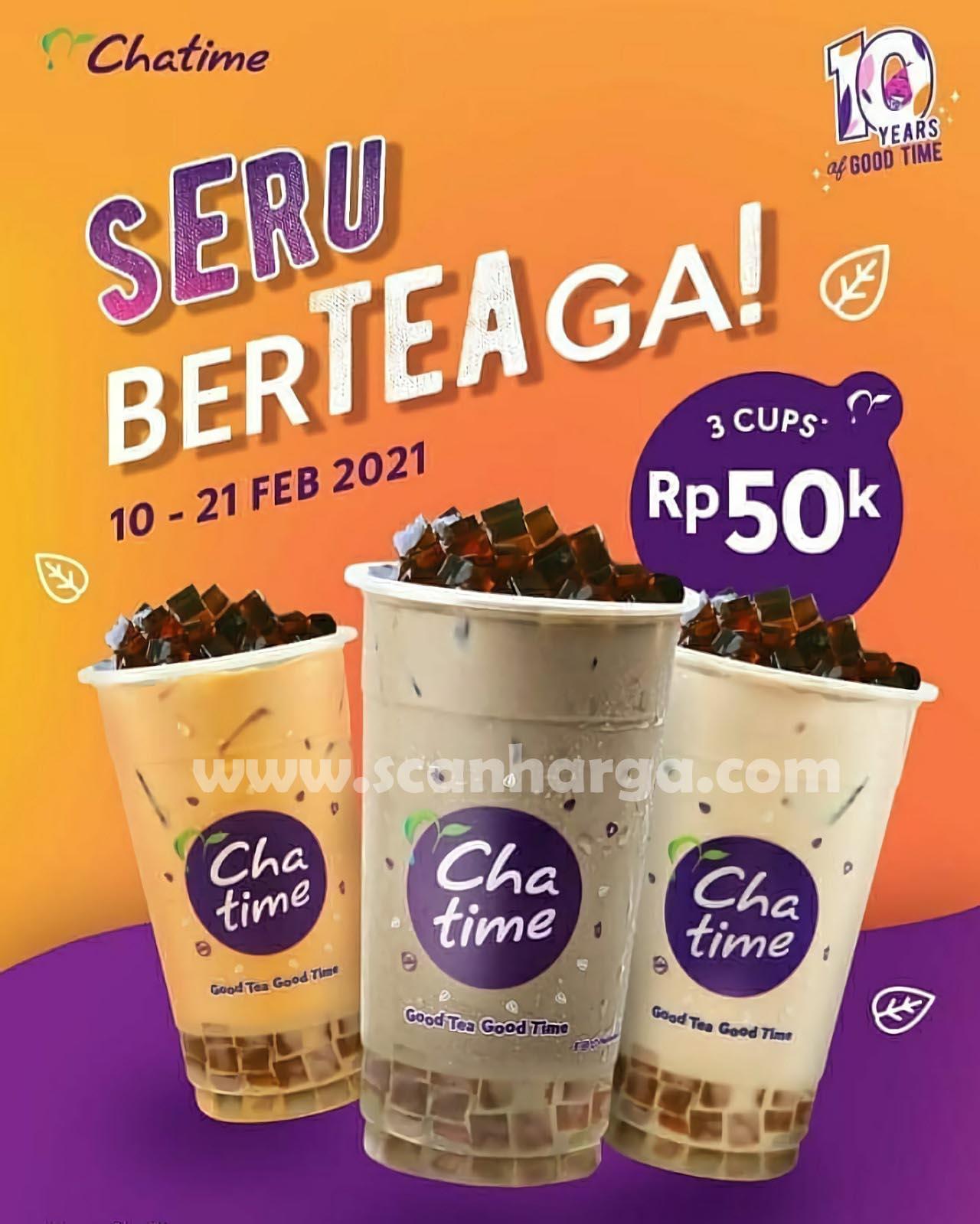 CHATIME Promo SERU BERTEAGA! Harga 3 Cup Chatime cuma Rp 50K