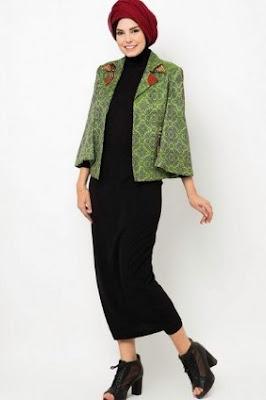 Baju batik atasan blazer kombinasi hijab style modern