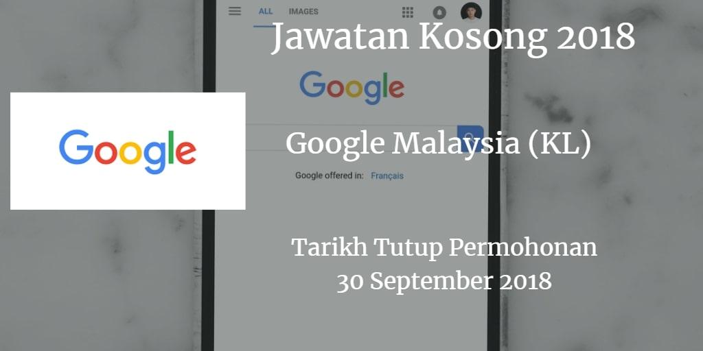 Jawatan Kosong Google Malaysia (KL) 30 September 2018