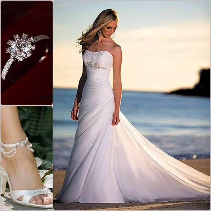 Vestido de Novia Elegante y Moderno, anillo y zapatos