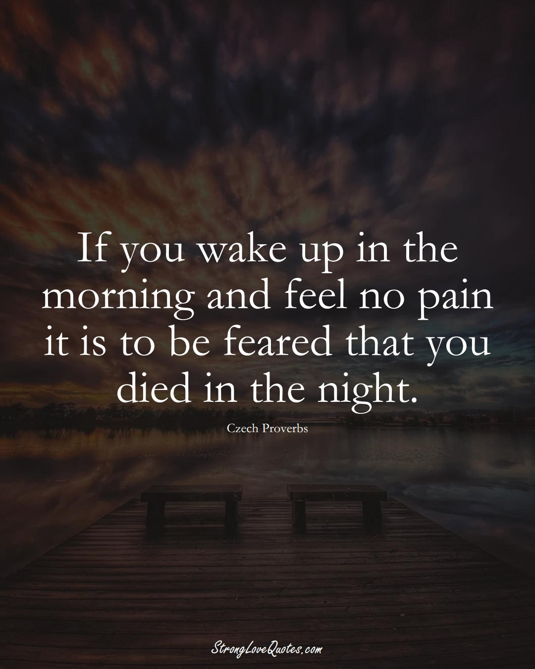 If you wake up in the morning and feel no pain it is to be feared that you died in the night. (Czech Sayings);  #EuropeanSayings
