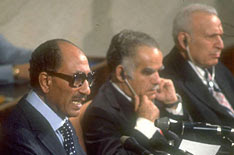Egyptian President Anwar Sadat addresses the Israeli Parliament in Jerusalem.