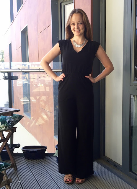 Diary of a Chain Stitcher: Closet Case Files Sallie Jumpsuit in Black Cotton Spandex from Girl Charlee