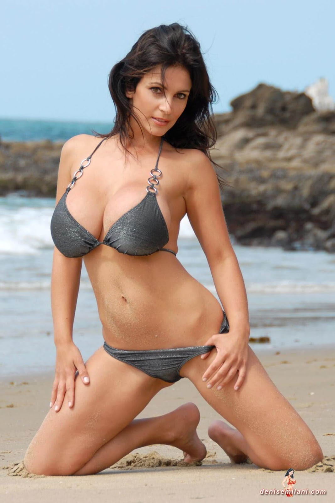 Denise Milani Beach Silver Bikini Hot HD Photoshoot | Damn ...