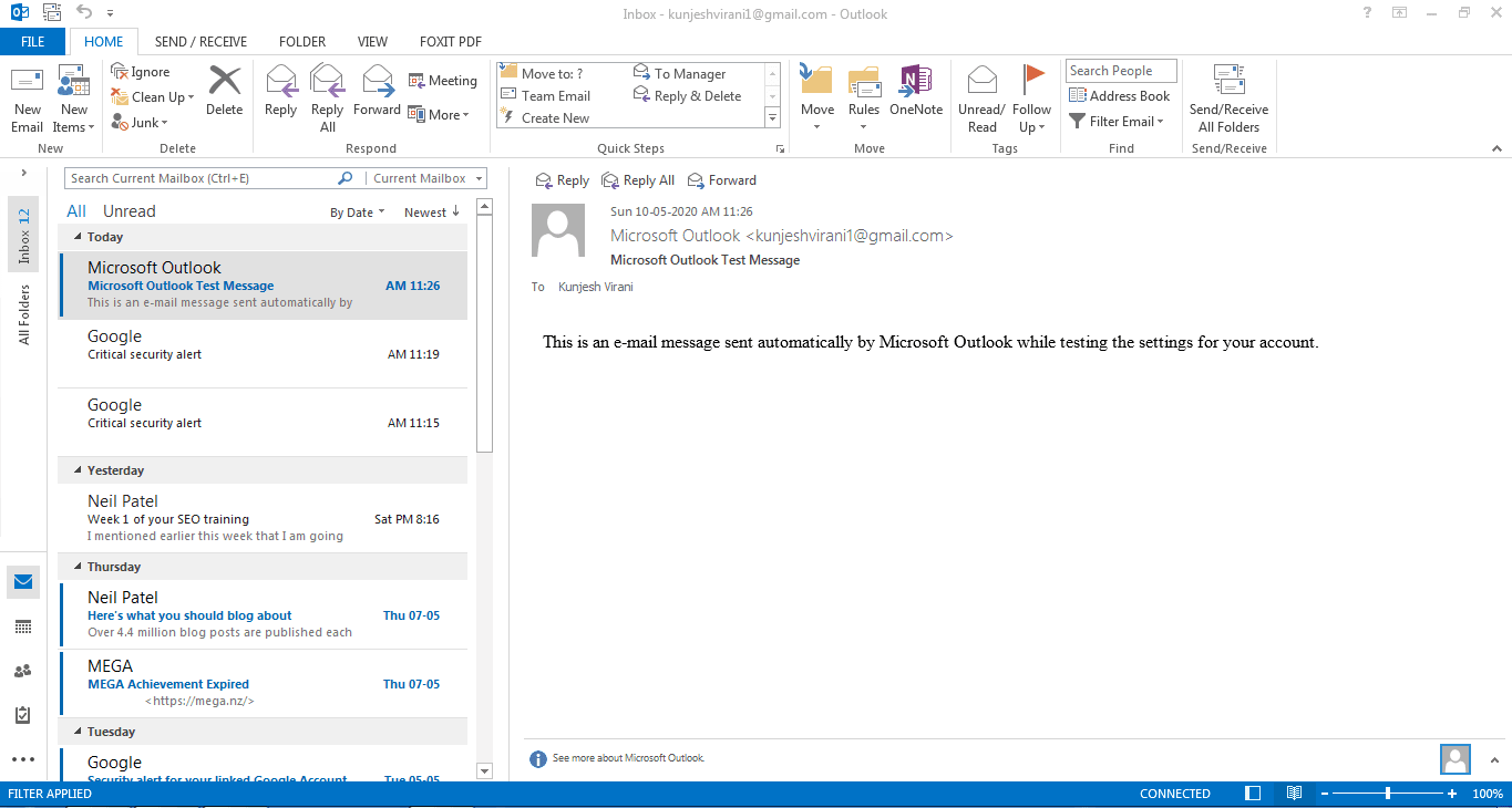 Outlook is ready to send and receive emails from Gmail