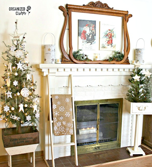 2016 Christmas Mantel With Vintage Dresser Mirror Frame