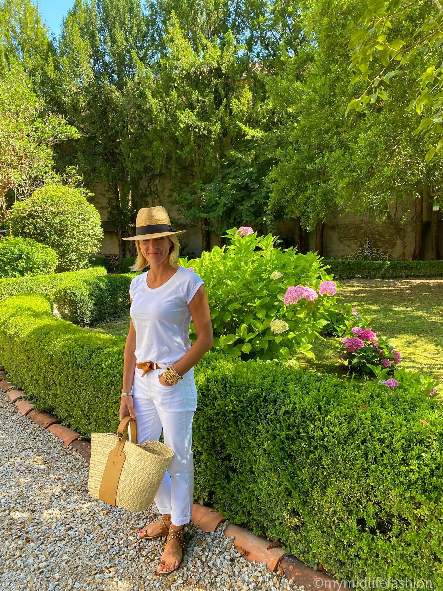 my midlife fashion, Baukjen the organic boyfriend jean, Baukjen Catherine top, rae feather grace basket, h and m Panama hat, Isabel Marant lecce belt, basalt studded sandals