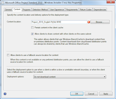 How to correctly setup Project, Visio and Office as an application in SCCM 2012 5