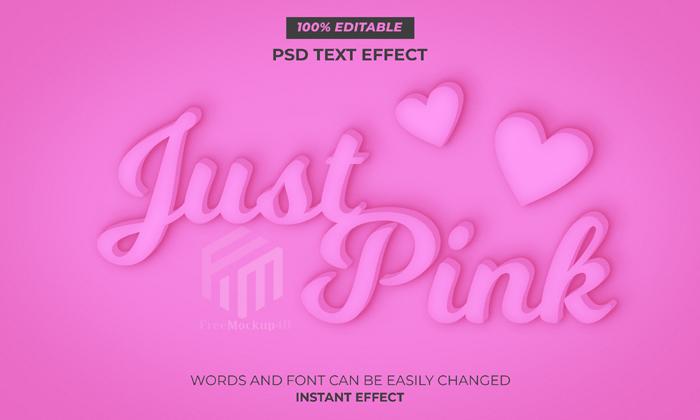 Pink Editable Text Syle Effect Psd Mockup