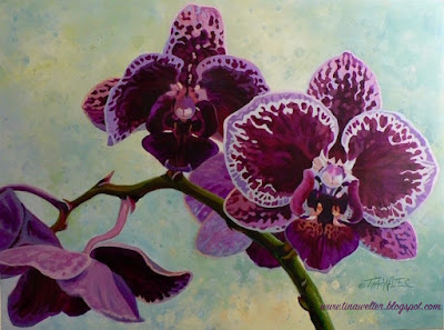 Red violet orchids, acrylic painting