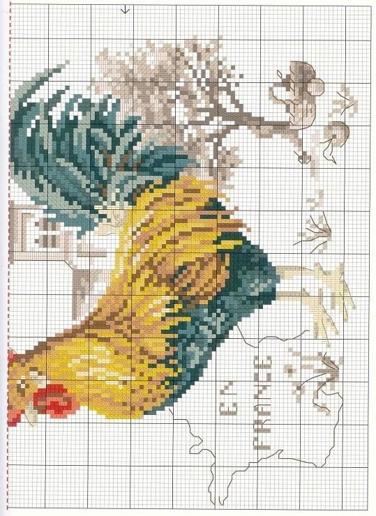 Вышивка крестом петух схема фото 844