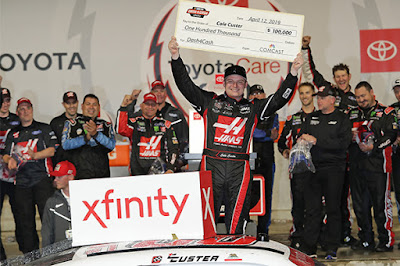 "Custer ""cashed in"" on the weekend, not only winning for the fourth time in his career, but also claiming the $100,000 Xfinity Dash-4-Cash bonus check."