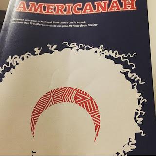 Capa do livro Americanah. Fundo azul, título da obra escrito em vermelho no alto da página e silhueta branca de uma mulher com cabelos crespos e volumosos. O único ponto de cor na silhueta é uma faixa vermelha que delimita onde termina o rosto e onde começa o cabelo.