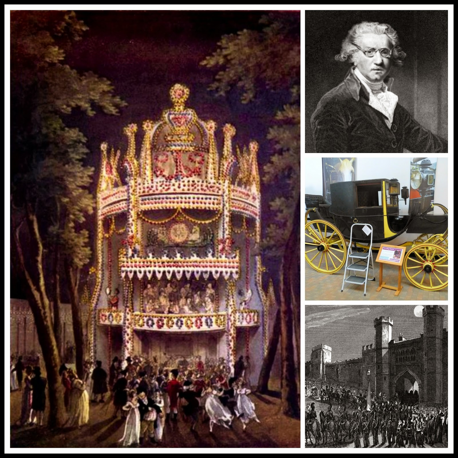 A collage - Vauxhall, Sir Joshua Reynolds, a travelling chariot, Princess Charlotte of Wales' funeral