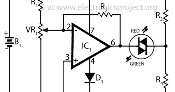 Circuit Schematic Battery Voltage Monitor using LM709
