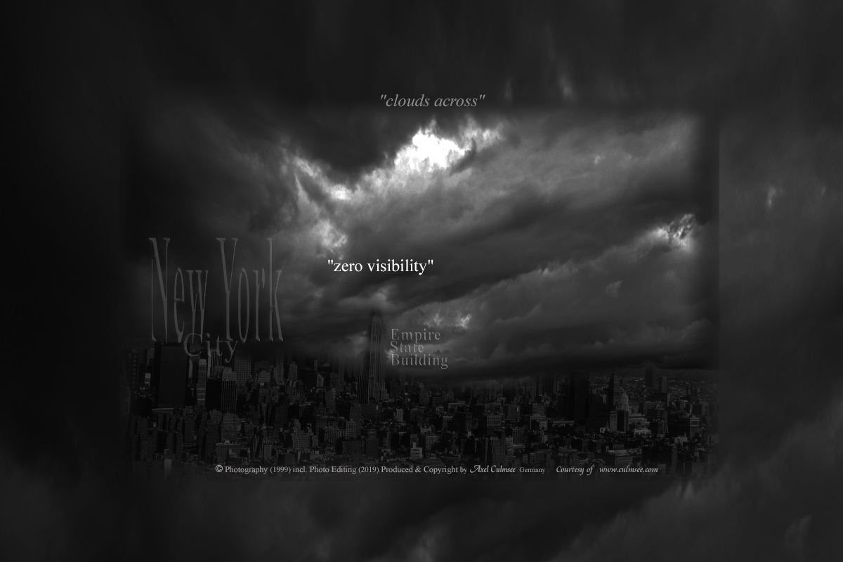 clouds across: New York 1999 Empire State Building, Photo Editing 2019 by Axel Culmsee