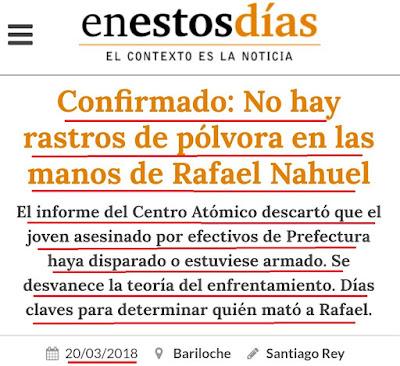 Otra construcción mediática que se cae: rafael nahuel fue asesinado