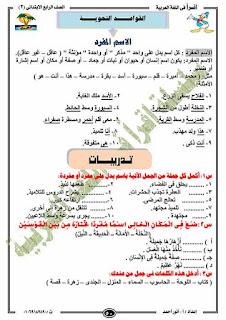 مذكرة لغة عربية للصف الرابع الابتدائى الترم الثانى للاستاذ انور احمد